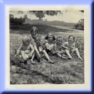 Cousins Barbara Eva Leonard Eddie etc 1955 corrected